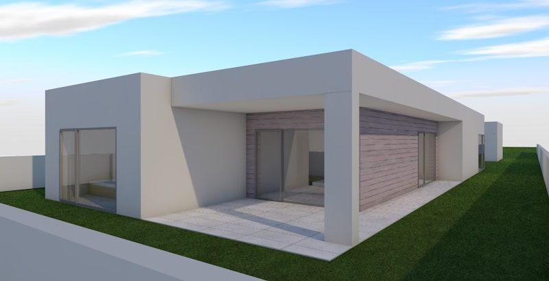 Projeto de Casa Pré Fabricada, desenvolvido pela BlueHouse Construções, Lda.